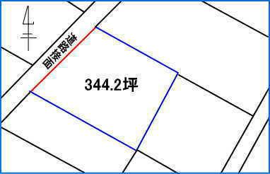 土地形状(赤い線が道路接面)