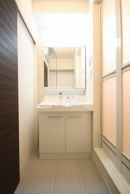 シャワー付き独立洗面台 上部に棚付き