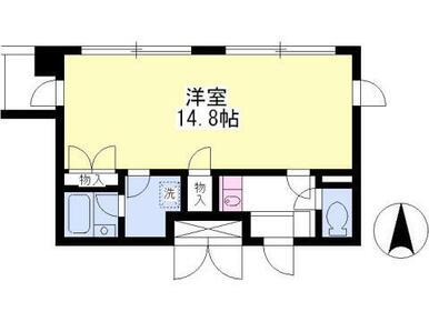 脱衣場付き!洋室14.8帖の広々ワンルーム!