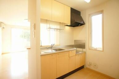 【キッチン】大きめのシンクを備えております。また上下に収納棚がございますので収納面も◎
