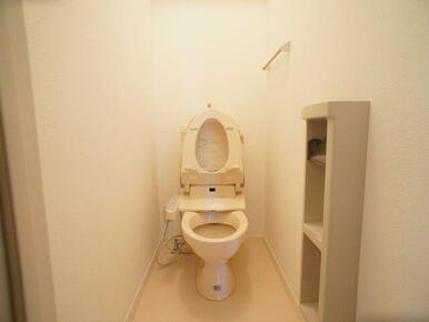 温水洗浄便座付きのトイレです!タオル掛けやトイレットペーパーホルダーも設置してあります!※写真は20