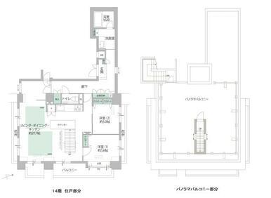 専用パノラマバルコニーからは京都市内が一望できます。