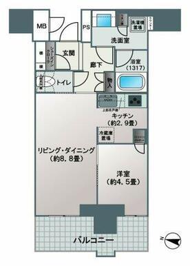 【間取り】1LDK+シューズインクローゼットのお部屋です。