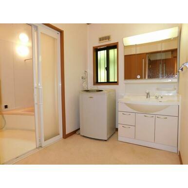 シャンプーも出来る広さの洗面台です。