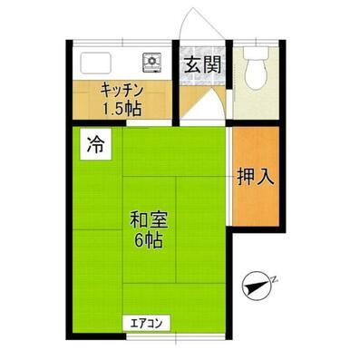 2F2号室間取/1K