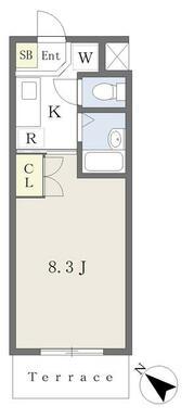 洋室は8.3帖と広々・洗浄機能付便座・TVモニターホン・エアコン付の1Kタイプ♪