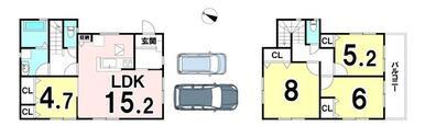 土地面積:130.15㎡(39.37坪)建物面積:96.67㎡(29.24坪)、4LDKの新築戸建…