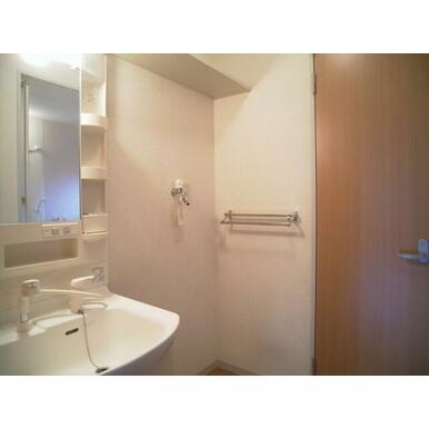 洗面所の様子です。右側扉はトイレ入り口です。