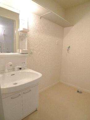 洗面台は洗髪のできる【シャンプードレッサー】です♪ハブラシ置きや小物を置ける棚も付いております♪洗面