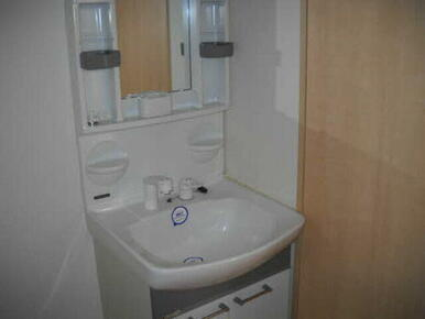 シャワー付きの洗面化粧台です。毎日の支度が楽しくなりそうです