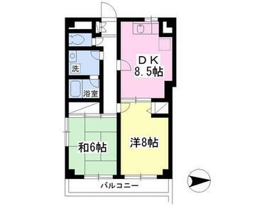最上階・お2人入居も可の2DKタイプです★