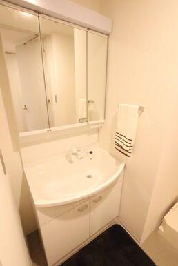 シャワー付き洗面化粧台です♪鏡裏に収納できるので洗面周りスッキリします