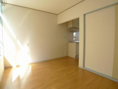 洋室☆右奥がキッチン部分、右端に少し写っているのが収納の戸です