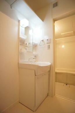 【洗髪洗面化粧台】シャワーヘッドが付いている洗髪洗面化粧台です。時間のない朝でもここで髪の毛をセット