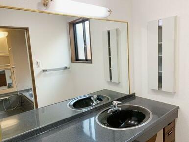 洗面台カウンター。大きなミラーがホテルライクです!