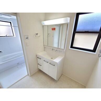 洗面 背の高い物から低い物まで効率良く収納できるトレイアレンジ自在の洗面台。