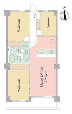 北西洋室 約6.9帖 北東洋室 約4.4帖 南西洋室 約6.0帖 LDK 約15.1帖