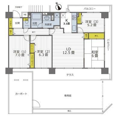3方向角部屋・専用庭&カーポート付きの4LDKです。