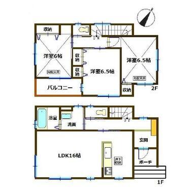 間取り図 全室6帖以上+東南向きの設計です。