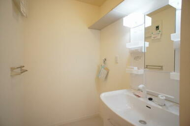 【脱衣・洗面所】 深型ボウルとシャワー水栓付でシャンプーもOK。