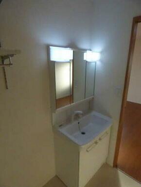お出かけ前の準備に重宝するハンドシャワー付の洗髪洗面化粧台♪