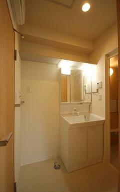 鏡部分たっぷり収納スペース。洗面ボウルは水や髪の毛が流れやすい形状でお手入れ簡単!