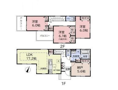 【間取り図】 収納スペース充実の木造2階建て♪