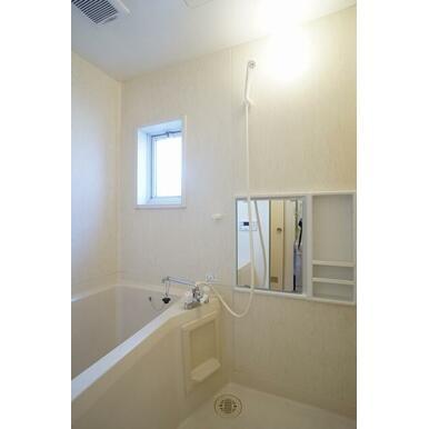 換気窓のある明るい、シャワー、鏡付ツールパネル付のバスルームです。