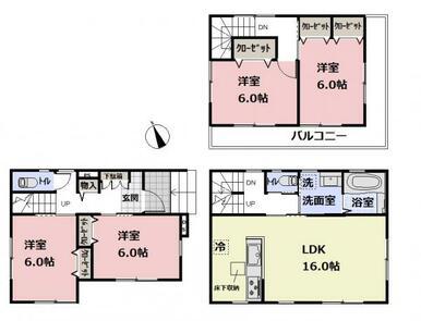 【間取図】2階リビングの4LDK♪