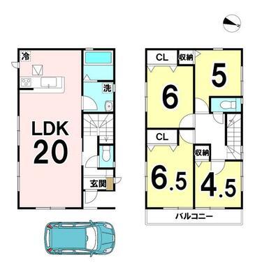 土地面積:99.56㎡(30.11坪)建物面積:94.77㎡(28.66坪)4LDKの新築戸建です♪