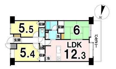 専有面積64.16㎡ 5階部分、3LDKの中古マンションです♪