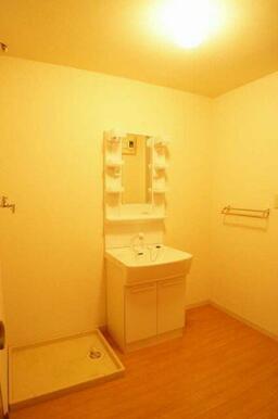 【脱衣所】洗面化粧台あります。洗濯機もコチラへ