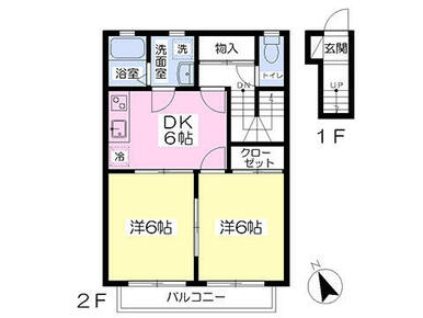 玄関が1階、内階段でお部屋に上がります。