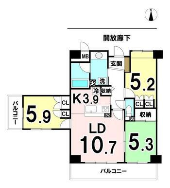 専有面積:69.91㎡ 7階部分3LDK、バルコニーが2面ある中古マンションです!