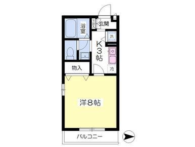 最上階角部屋2面採光・洗面台独立・モニターホン付き。広々8帖あります。