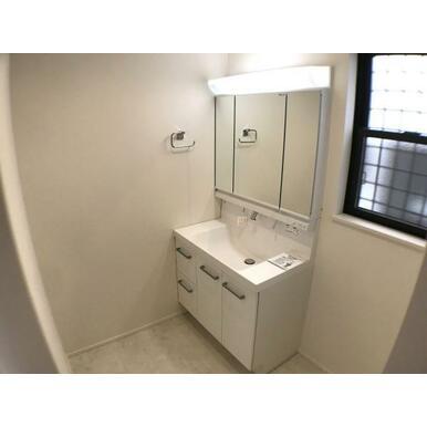 洗面台 背の高い物から低い物まで効率良く収納できるトレイアレンジ自在の洗面台。
