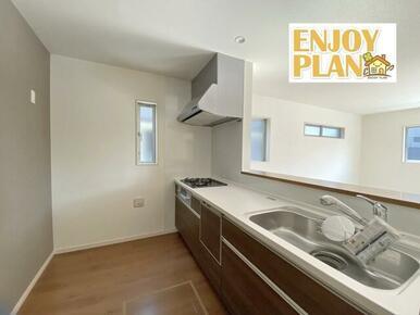 床下収納のある対面キッチン
