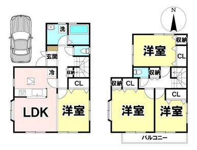 土地面積:100.01㎡(30.25坪)93.56㎡(28.3坪) 4LDKの中古戸建です♪