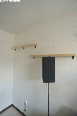 棚が設置させており、観葉植物など置くことができます♪