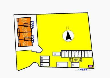 駐車場の配置図です。※ご利用の場合は、別途手数料(駐車場+消費税)がかかります。