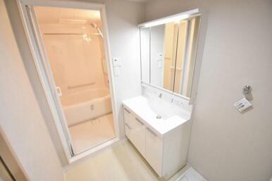 開けると大容量の収納、閉めると3面鏡で見た目もすっきり
