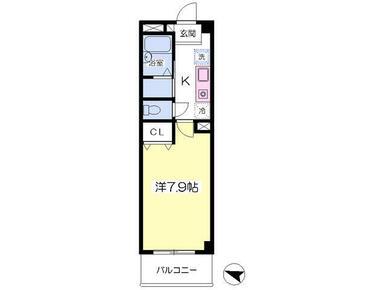 洋室7.9帖・バストイレ別・最上階♪