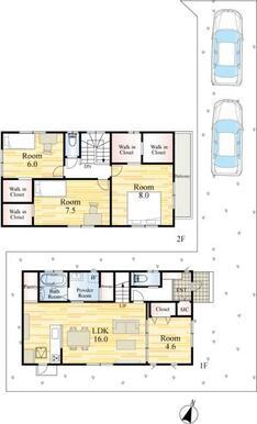2階全居室ウォークインクローゼット付き、お部屋の中がスッキリしますね。
