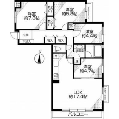 洋室4部屋+LDKと部屋数が多いのが魅力です。 ご家族が多くても一人ひとりのプライベートルームが持てま