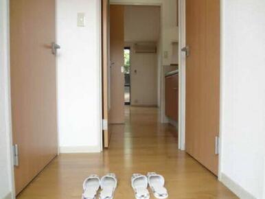 玄関です。左ドアが洗面所、右ドアがトイレです。