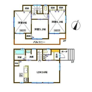 間取り図 全室南向き設計の水回り集中型の間取りです。