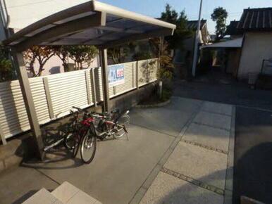 大切な自転車を雨から守ります、屋根付駐輪場置場