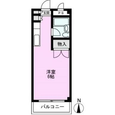 最上階☆洋室6帖のワンルーム