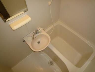 便利な鏡付きのバスルーム