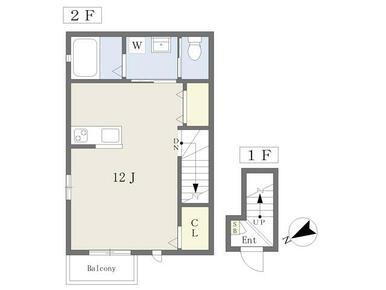 1フロア2住戸・最上階・角部屋・2面採光、設備充実のワンルーム!